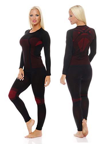 kiunterwäsche für Damen als Hemd-Hose-Set oder 2 Hemden oder 2 Hosen auswählbar, Lang oder Kurz-Arm, funktionelle Thermowäsche seamless ohne störende Nähte, 1x Set Langarm Schwarz/Rot, Large / X-Large