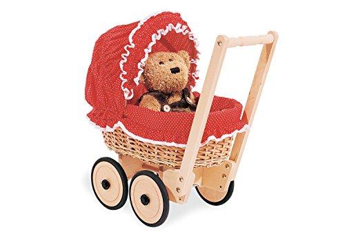 Pinolino Korbpuppenwagen Mona, aus Holz und Weide, inkl. Bettzeug, Bremssystem und gummierten Holzrädern, Lauflernhilfe für Kinder von 1 – 6 J., natur und rot