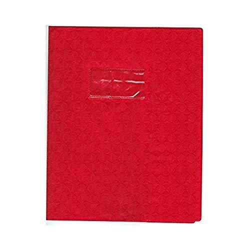 Calligraphe (gamme scolaire Clairefontaine) 72013AMZC - Un protège-cahier grain losange 17x22 cm 18/100ème avec porte-étiquette, en PVC (plastique) opaque, Rouge