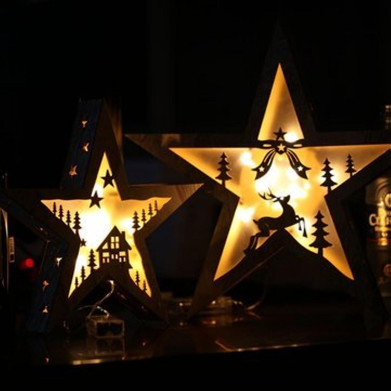 Wooden Led LightsChristmas Led LightsChristmas Wooden LED Lights Crafts Pentagram Pendant Table Lamp Flashing Star Lights Birthday Gifts (Craft Led Lights)