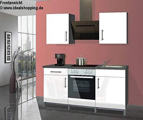 Menke Singleküche Küche Küchenblock 180 cm Graphit weiß Hochglanz Ceran Backofen