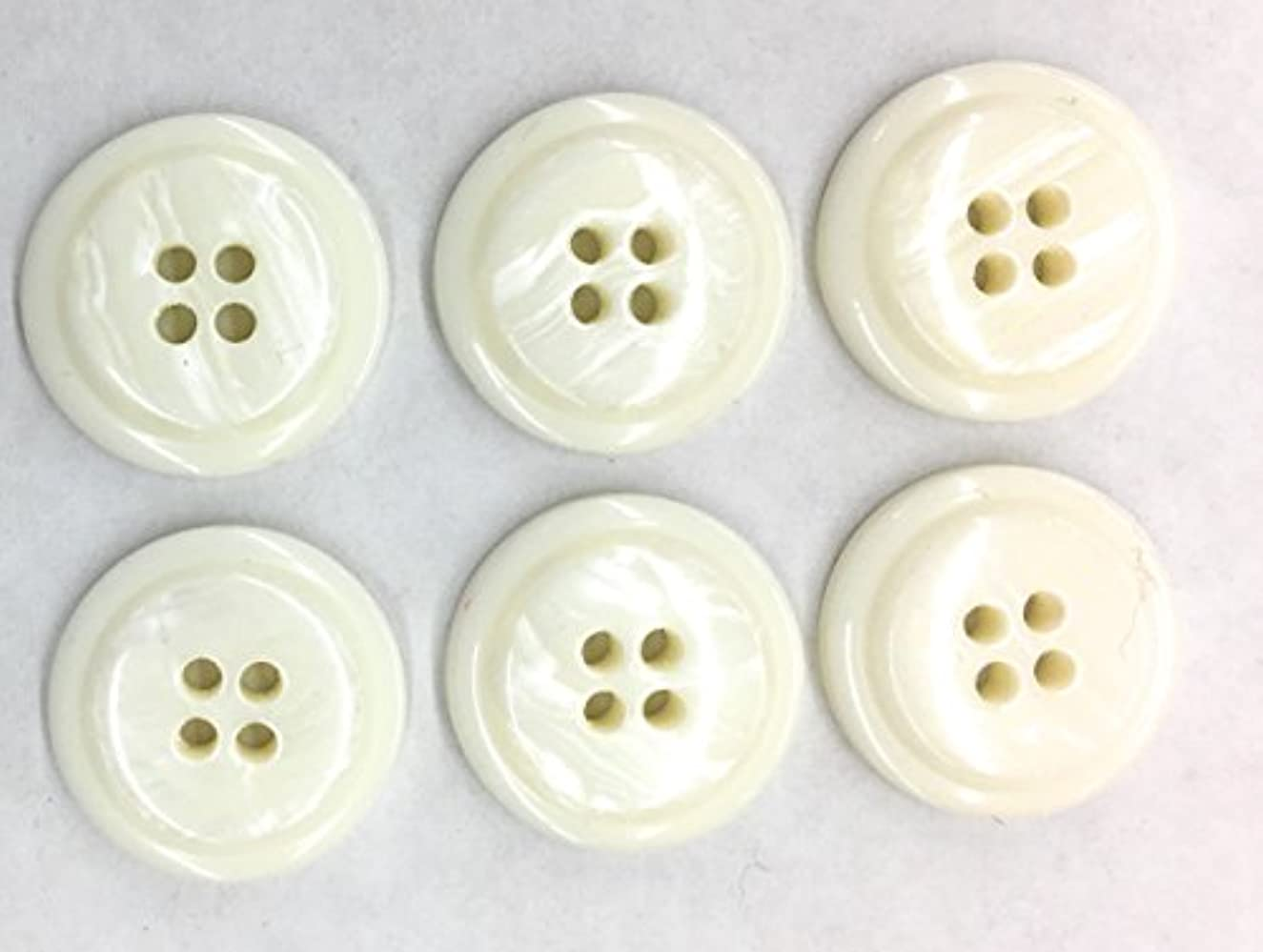 6 Marbelized White Buttons SET- 3/4