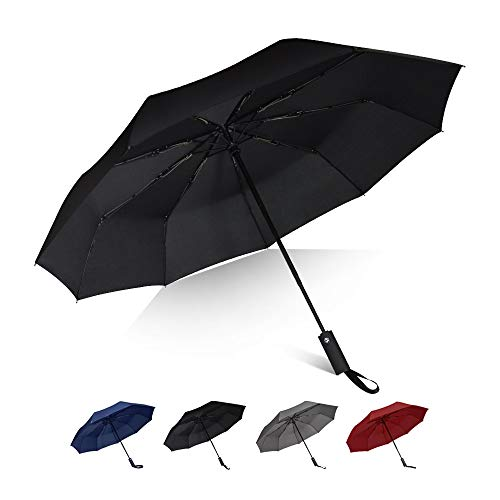 Brainstorming Travel Windproof Umbrella with Teflon Coating, Auto Open Close Lightweight with 9 Fiberglass Ribs, Upgrade Ergonomic Long Handle, Sun&Rain Folding Umbrella(Black)