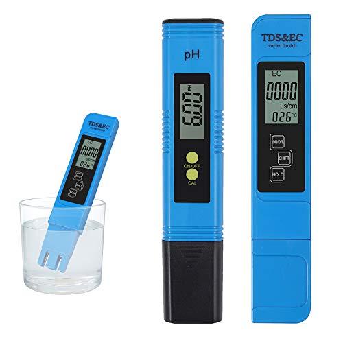 COLFULINE Digitale PH Messgerät + TDS EC Meter Tester, LCD TDS EC PH Wert Messgerät Wasserqualität für Trinkwasser/Schwimmbad/Pools/Labor/Wasserfilter