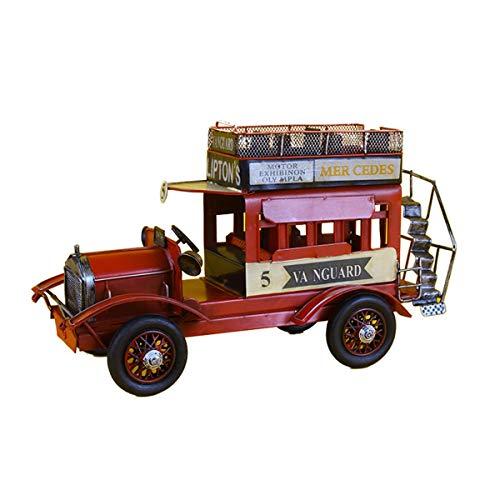 MxZas Kreative Doppelschicht-Eisen-Oldtimer-Modell-statisches Metall-Modell-Fenster-Dekoration Vintage Fahrzeug Wohnkultur (Color : Red, Size : 30x12x16.5cm)