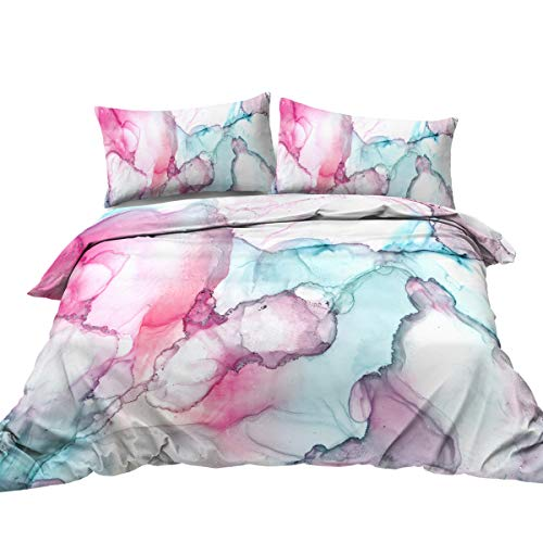 BlessLiving Watercolor Duvet Cover Set Pink Green Paint Splatters Bedding Sets 3 Piece Abstract Brushstrokes Comforter Cover for Kids Teens Adults Girls Women (Full)
