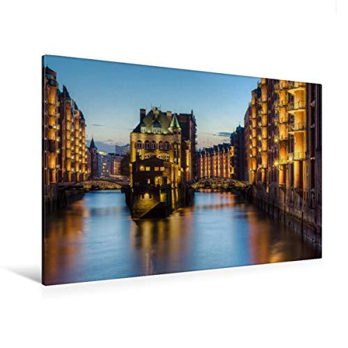 CALVENDO Premium Textil-Leinwand 120 x 80 cm Quer-Format Wasserschloss Hamburg, Leinwanddruck von Michael Valjak