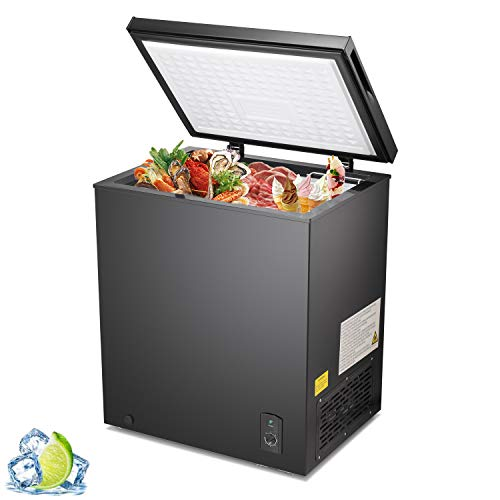 R.W.Flame Chest Freezer 5.1 Cubic Feet, Deep Freezer,Removable Basket,Adjustable Temperature,Energy Saving,Top open Door Compact Freezer,Black
