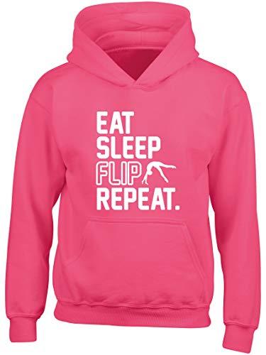 Hippowarehouse Eat Sleep Flip Repeat Gymnastics Gymnast Kids Children's Unisex Hoodie Hooded top Fuchsia Pink