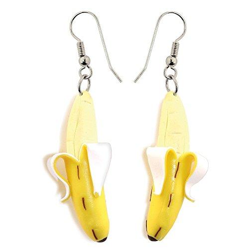 Funky Retro pelado amarillo Banana pendientes de gota