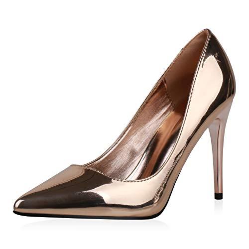 SCARPE VITA Damen Spitze Pumps Stiletto High Heels Metallic Schuhe Party Abendschuhe Modische Lack Absatzschuhe 190388 Rose Gold Gold 39