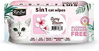 KitCat 5 in 1 Cat Wipes Cherry Blossoms Scented, 80 Sheets