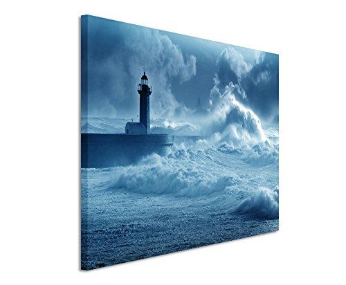 Sinus Art - Quadro da parete 120 x 80 cm, colore: Blu petrolio - Quadro su tela su telaio di ottima qualità - Faro in tempesta Portogallo