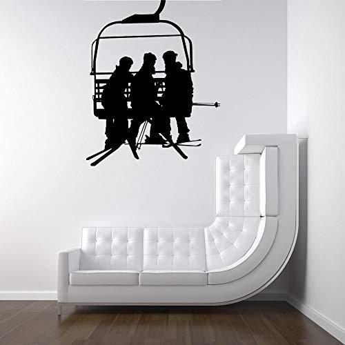 56x69cm, pegatinas de pared para la decoración de la sala de estar, arte del tatuaje de la pared, silla telescópica con hombres entregando tablas de snowboard, diseño de silueta, póster de pared