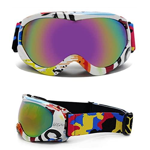 WBTY Gafas de esquí para niños, gafas de snowboard coloridas, gafas de seguridad anti UV, a prueba de viento, a prueba de polvo, para adolescentes, niños, niñas