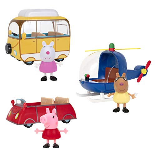 Peppa Pig Little Vehicle 3 Pack - Includes 3 Character Toy Figures Like Suzy Sheep and Pedro Pony, Plus Red Car, Campervan and Helicopter - Toys for Kids - Amazon Exclusive