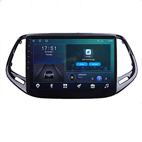 STTTBD 9'Android 10.0 2 DIN Radio De Navegación para Jeep Compass 2017-2019 Soporte Bluetooth USB WiFi Pantalla Táctil Reproductor De Video Multimedia Navegación GPS Autoradio(Color:4G+WiFi 4G+64G)