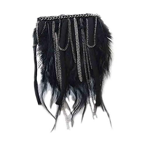 YUTRD ZCJUX Pasaje de Plumas Vestido Accesorios para el Hombro Fruñido EPAULTTES Metal Diamante Zapatos DISCORATIVOS Accesorios DE Ropa (Color : Black) 🔥