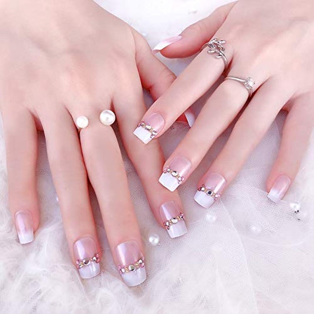 内なる観察継続中花嫁ネイル 手作りネイルチップ 和装 ネイル 24枚入 結婚式、パーティー、二次会など 可愛い優雅ネイル 人造ダイヤモンドの装飾 (A19)