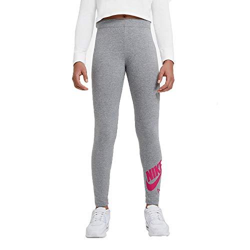 Nike Girls G NSW AIR Favorites LGGNG Leggings, Carbon Heather/(Fireberry), M