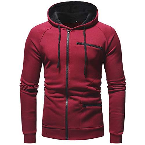 Zytyeu Hoodie Herren Sweatshirts Slim Fit Lässig Langarm Sport Hoody Jacke Leichte Atmungsaktive Zip Jacken Herren Sport Fitness Hooded Jacke Outwear D-Red XXL