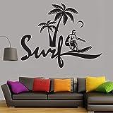 yaonuli Room Decorable Vinyl Wandtattoo Surf Boy Wandaufkleber für Jugendzimmer Schlafzimmer Wand Art Deco Fresco 53X42cm