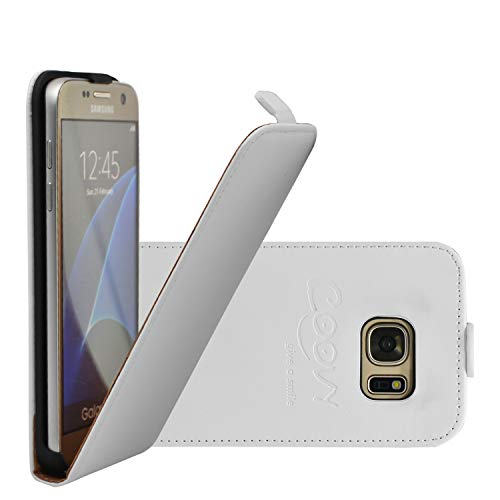 COOVY Custodia per Samsung Galaxy S7 SM-G930F SM-G930 Slim Flip Cover Case della Copertura di Vibrazione Protezione, Pellicola Protettiva per Schermo | Colore Bianco