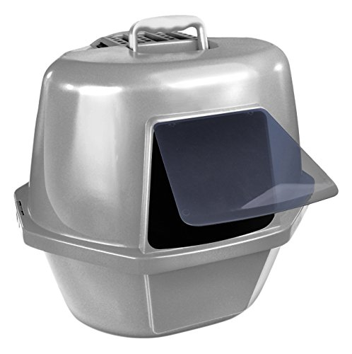 Van Ness Corner Enclosed Cat Pan, Silver, Large (CP9)