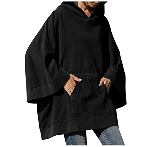 SHOBDW Barato Sudaderas con Capucha Oversized Mujer 2021 Sólido Talla Grande Chaqueta Abrigos Pullover Deportivos Sweatshirt Cálido Invierno Mujer Adolescente Venta(Negro,5XL)
