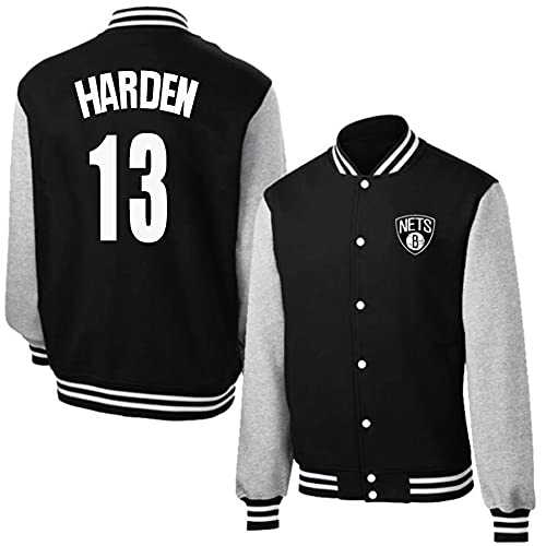 NQFL James Harden # 13 Basketball Fan Sweatshirt Button Cardigan Top Unisex Youth Student (Color : Black, Size : 2XL)