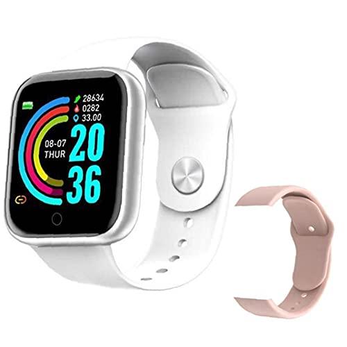 Smart Watch Bluetooth Bluetooth Y68 Pulsera inteligente Rastreador de fitness con correa de repuesto Presión arterial Prueba de ritmo cardíaco Red Blanco Repuestos de comunicación