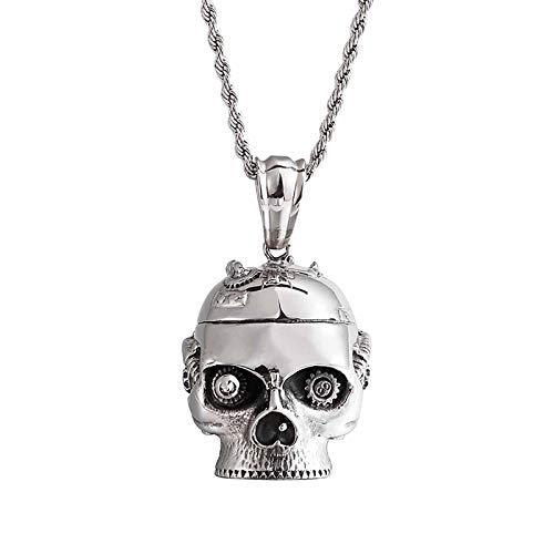 HHW Collar De Fantasma De Acero De Titanio Dominante De Los Hombres De La Personalidad Colgante De Acero Inoxidable Mecánico del Cráneo del Punk Rock Europeo Y Americano