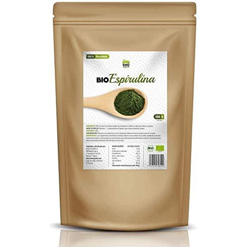 EMO Bio Espirulina Ecológica - 500 gramos - 100% Ecológica - Aumenta tu Energía - Rica en Proteína Vegetal - Rica en Ácidos Grasos - Contiene todos los Aminoácidos Esenciales