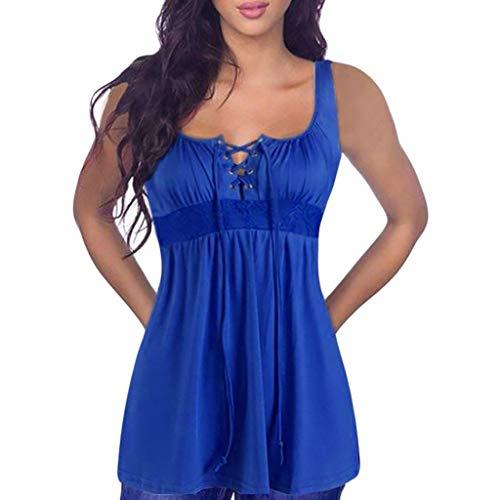 Camiseta Sin Mangas Mujer SHOBDW 2020 Nuevo Playa de Verano Deporte Camisetas Mujer Tirantes Baratas Chaleco con Cordones Camiseta Blusa Camisetas Sin Mangas para Mujer Tallas Grandes(Azul,M)