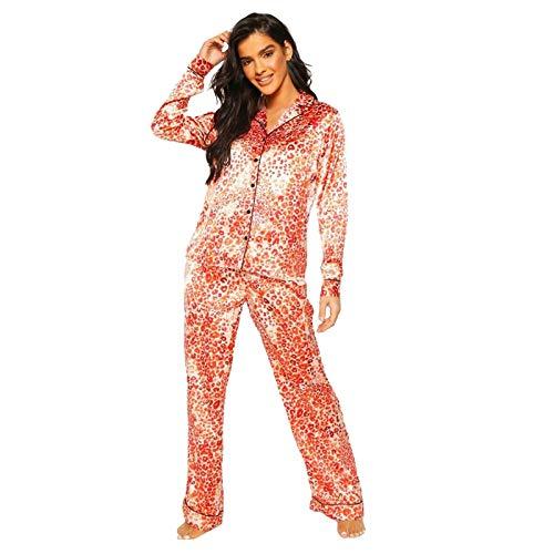 BOIYI Pijamas de Patrón Impreso de Satén Sudaderas con Capucha para Mujer, Ropa de Dormir de Fiestas Ropa de Dormir, con Mangas Largas, Traje de casa, Traje de Noche para Adultos