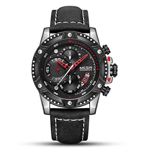 MXH Herrenuhr Sport Multifunktions-Kalender wasserdicht Quarz-Uhr-Mann-2083G,Blackbelt