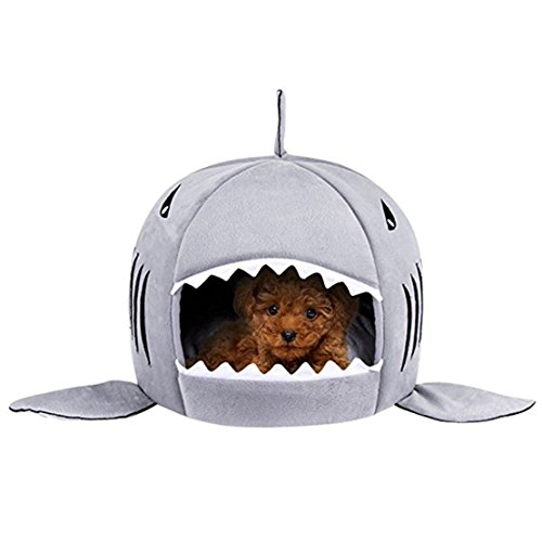 WYSBAOSHU Haustier-warme weiche Schlafsack-Haifisch-Hundezucht-Katze Bed House (M, Grau)