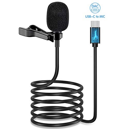 USB Type C Lavalier Lapel Microphone,[DAC Chip] IUKUS Professional Omnidirectional USB-C Lavalier Microphone with Easy Clip On System Compatible with iPad Pro 2018 2019 Google Pixel 2 3 XL Moto Z and
