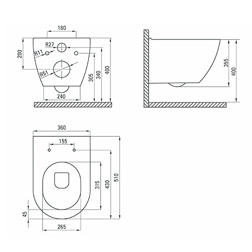 Design Wand-Hänge-WC Toilettenschüssel Tiefspüler inkl. WC Sitz aus Duroplast mit Metallscharnieren Absenkautomatik Spülrandlos Rimfree Nanobeschichtung Randlos KB-DE6ZPW - 4