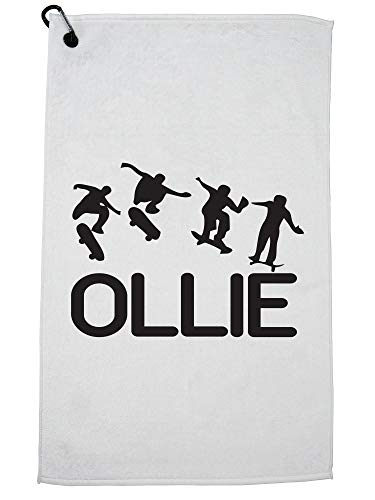 Hollywood Thread Skateboarden Ollie Trick Sequence Silhouette Trendy Golf Handdoek met Karabijnhaak Clip