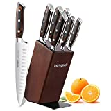 homgeek Knife Set with Block, Kitchen Knife Set with German 1.4116 Stainless Steel Blade, Ergonomic Pakka Wood Handle and Rubberwood Block, 7 Pieces