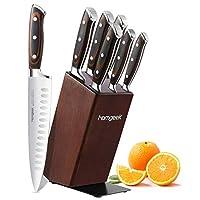 homgeek set coltelli da cucina, 7 pezzi set coltelli cucina professionali, realizzato in acciaio inossidabile tedesco 1.4116 con porta coltello in legno, impugnatura ergonomica in legno pakka