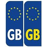 2 x Euro GB Placa Coche Matrícula Autoadhesivo Pegatina Vinilos Europeo pegatinas