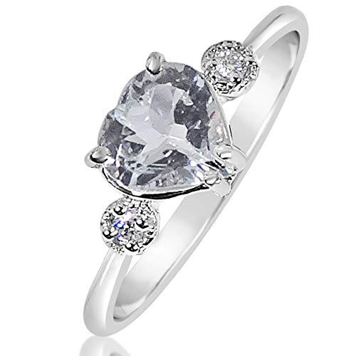 MILLE AMORI ∞ Anillo Mujer Compromiso Oro y Diamantes - Oro Blanco 9 Kt 375 ∞ Diamantes 0.05 Kt - Aguamarina 1 Kt