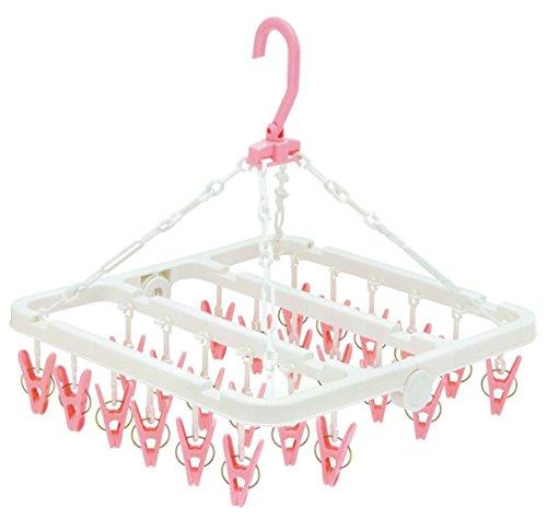 オーエ 洗濯 物干し ハンガー マイランドリー2 デリケート ピンク 24ピンチ 大切な衣類 やさしく干せる 洗濯バサミ 約34×34×36cm