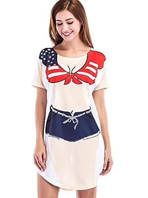 Jubileens Women's Short Sleeve Cute Bikini Print Baggy T Shirt Dress Fun Wear