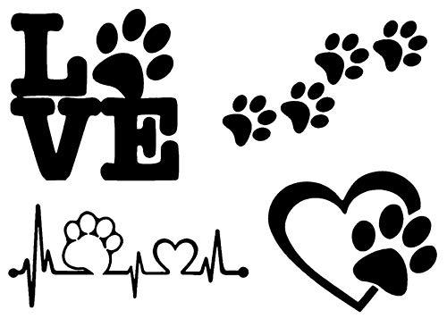 Paw Decals: Dog Paws, Love with a Paw, Paw Heartbeat, Paw Prints (Paw Prints Black)