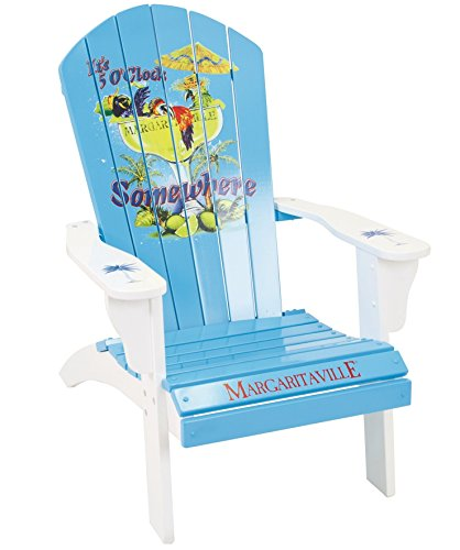 Margaritaville Outdoor Patio Wood Adirondack Chair, It's 5 O'Clock Somewhere, Light Blue