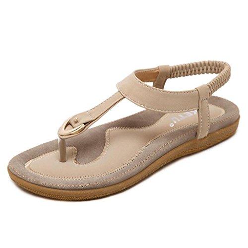 VJGOAL Damen Sandalen, Frauen Mädchen Böhmischen Mode Flache beiläufige Sandalen Strand Sommer Flache Schuhe Frau Geschenk (40 EU, Beige)