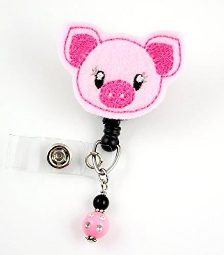 Cute Pig with Slant Ears - Nurse Badge Reel - Retractable ID Badge Holder - Nurse Badge - Badge Clip - Badge Reels - Pediatric - RN - Name Badge Holder